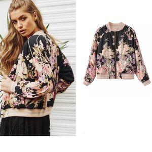 🎉Bohemian Floral Print Bomber Jacket